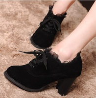 2013 New Arrival Lace Waterproof Single Shoes, Fashion Female Thick Heel Pumps+Free Shipping