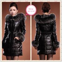 Ladies winter leather clothing genuine sheepskin leather down coat medium-long women's large fox fur black Red M/L/XL/2XL3XL4XL