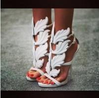 Large size 42 gz sandals 120mm gold leaf heels women wedges white black gold leaf high heel pumps wings ankle strap sandals