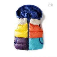 Boys Girls fashion Waistcoat children's  Cotton-padded vest decoration color block hooded cotton vest