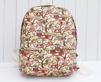 Owl school shoulder bag Korean version female bag canvas backpack Japanese style cute cartoon casual student backpacks