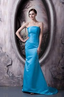 Inexpensive Free Shipping Blue Mermaid Strapless Satin Formal Gowns Party Celebrity 2013 Evening Dresses Women On Sale Wholesale