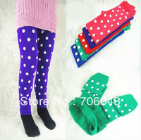 Free Shipping 2013 Hot Children Warm leggings Fashion Printing Dot Female Children Casual pants