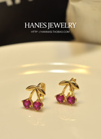 Cherry zircon stud earring purple garnet rose gold fashion all-match