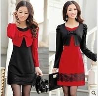 New Autumn 2015  women's one-piece dress faux two piece set slim elegant Long Sleeve knitted one-piece dress plus size