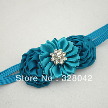 NEW arrivel mini silk puff rosettes flower headbands satin ribbon flower with Sparkling Rhinestone elastic headbands 120pcs/lot