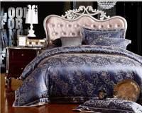 2014 Luxury Bule Satin Jacquard bedding sets king queen size 4pcs Silk/cotton duvet cover bed linen bedclothes set home textile