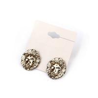 Minimum Order $20 (mixed order)   fashion accessories all-match retro punk finishing golden lion head stud earrings