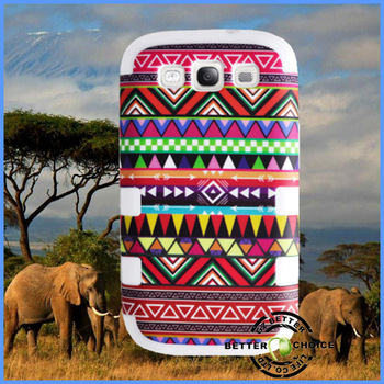Cheap Hot sale Red Aztec Tribal Pattern High Impact Plastic Combo Silicon Shock proof Hybrid Case Cover for Samsung Galaxy SIII