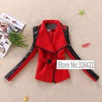 Winter Woollen Coat Women Outerwear Vintage Pu Leather Patchwork Thick Red Wool Coat Parka Casacos Femininos 2014 Casaco