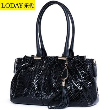 Snake scales cowhide women's handbag 2013 fashion shoulder bag women's big bags