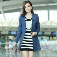 Free shipping 2013 autumn elegant slim turn-down collar long design women's trench outerwear 02257113521