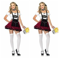 2013 Hot Sale Sexy Adult Oktoberfest German Beer Girl Fancy Halloween Waiter Costumes Promotional Party Outfit Free Shipping