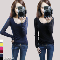2013 women's top slim brief gauze long-sleeve round neck T-shirt basic shirt
