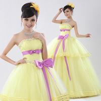 2013 bride wedding formal dress tube top quality long design princess puff skirt banquet evening dress