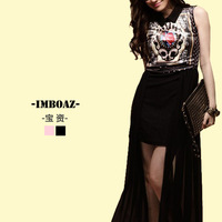 Imboaz 2013 summer fashion turn-down collar royal print chiffon patchwork long dovetail one-piece dress