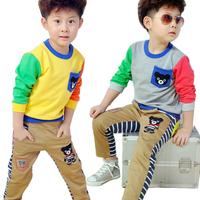 free shipping 2013 autumn male child set autumn child set candy color sweatshirt long-sleeve o-neck set