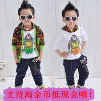 free shipping Children's clothing set autumn 2013 child cartoon male child casual long-sleeve cardigan piece set