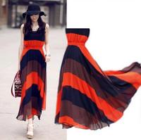 Hot  2014 Fashion Summer Women's Long Stripe Dress Bohemian chiffon dress Summer Autumn Beach Bohemian Dress Wholesale On Line