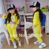 Free shipping Autumn yellow silveryarn shampooers casual set male female child sports outerwear trousers child set