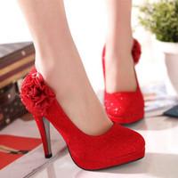 2013 autumn single shoes high-heeled platform bridesmaid shoes flower wedding shoes LZL003