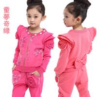 free shipping Children's clothing female child autumn set 2013 100% medium-large cotton child casual 2 piece set