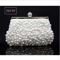 New Hot Style Beaded Evening Bags Imitation Pearls Embroidery Beads Clutch Handbags with Chain Lovely Pouch Purse