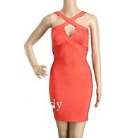 2014 New coral Elastic Knitted Bandage Dress J276 love girl strap sexy bodycon Orange Party Dresses