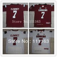 2013 New Style South Carolina Gamecocks #7 Jadeveon Clowney Garnet,White College Football Jersey Size:48~56+Mix Order,Free Ship
