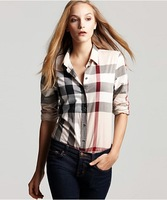 High Quality Women Fashion Branded Long Sleeve Big Checked Casual shirts/Designer Office Plaid Tops/Blouse