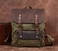 fashion casual vintage crazy horse leather with canvas men backpack women genuine leather rucksack, wholesale, FCL2