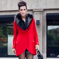 2013 woolen overcoat fashion raccoon fur medium-long slim woolen outerwear female