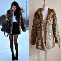 Fashion design slender female leopard artificial fur coat short fur coat