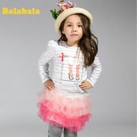 Balabala BALABALA female children o-neck long-sleeve T-shirt 2013 autumn