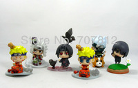 2013 Boxed New Cute Naruto Action Figure 6PCS/Set  High Quality  Mini  PVC Collection Jiraiya/Naruto/Itachi Free Shipping