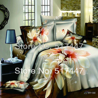 WFP-1399 white white flowers bedding set 4pcs 100% cotton printed duvet bed quilt covers comforters bedclothes king queen size