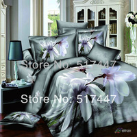 WFP-321 white lily flowers bedding set 4pcs printed 100% cotton duvet quilt bed covers comforters bedclothes for king queen size