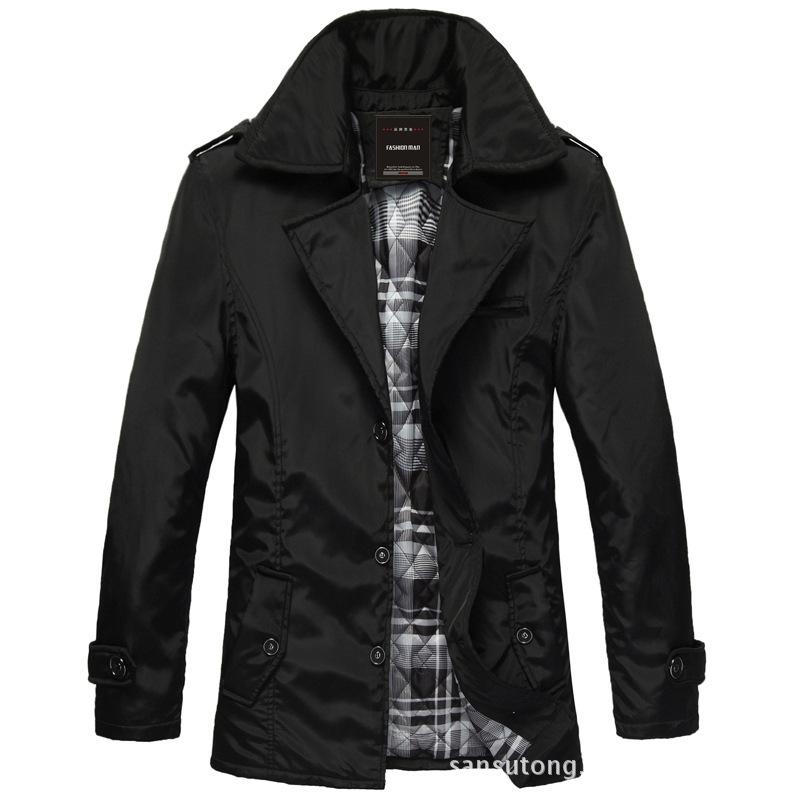 Мужская случайный однобортный большой отворот пальто
