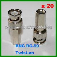 CCTV Camera Twist on BNC Male RG-59 Coax Coaxial Connector Adapter 20pcs