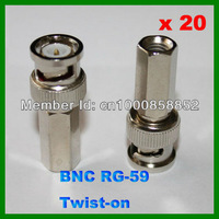 CCTV Camera Twist on BNC Male RG-59 Coax Coaxial Connector Adapter 20pcs