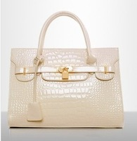 Hot selling 2013 new designer handbag totes luxury ladies leather handbag The crocodile grain luggage bags