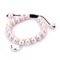Free shipping hot selling Glass shell pearl style bracelet with heart charm good quality most popular fashion jewelry Pale pink