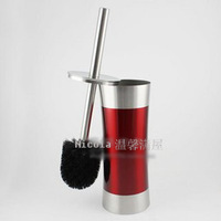 Stainless steel toilet brush sanitary bucket bright red