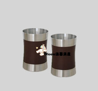 Stainless steel tumbler glass readily cup wood grain