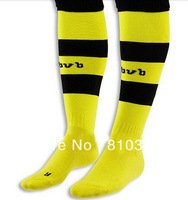 NEW arrival 13/14 top Thailand Quality Borussia Dortmund home yellow soccer socks Sports socks football socks . Embroidered logo
