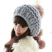 Handmade big tassel sphere fashion lovely yarn knitted hat female autumn and winter hat