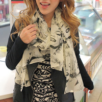 2012 autumn and winter fashion vintage personality monroe head portrait pattern scarf chiffon silk scarf