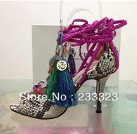 Limited Edition Super High Heel Olivia Dream Ankle Rop Tie Elaphe Sandals 2013 Platform python women Pumps dress shoe