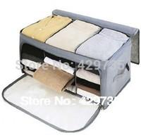 Free Shipping  Visual double open bamboo charcoal storage box finishing box storage box