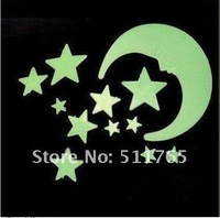 (12pcs/pack,10packs/lot)Glow in the Dark Moon Stars Wall Bed Stickers Decal Baby Kid Home Room Nursery for gift Free shipping